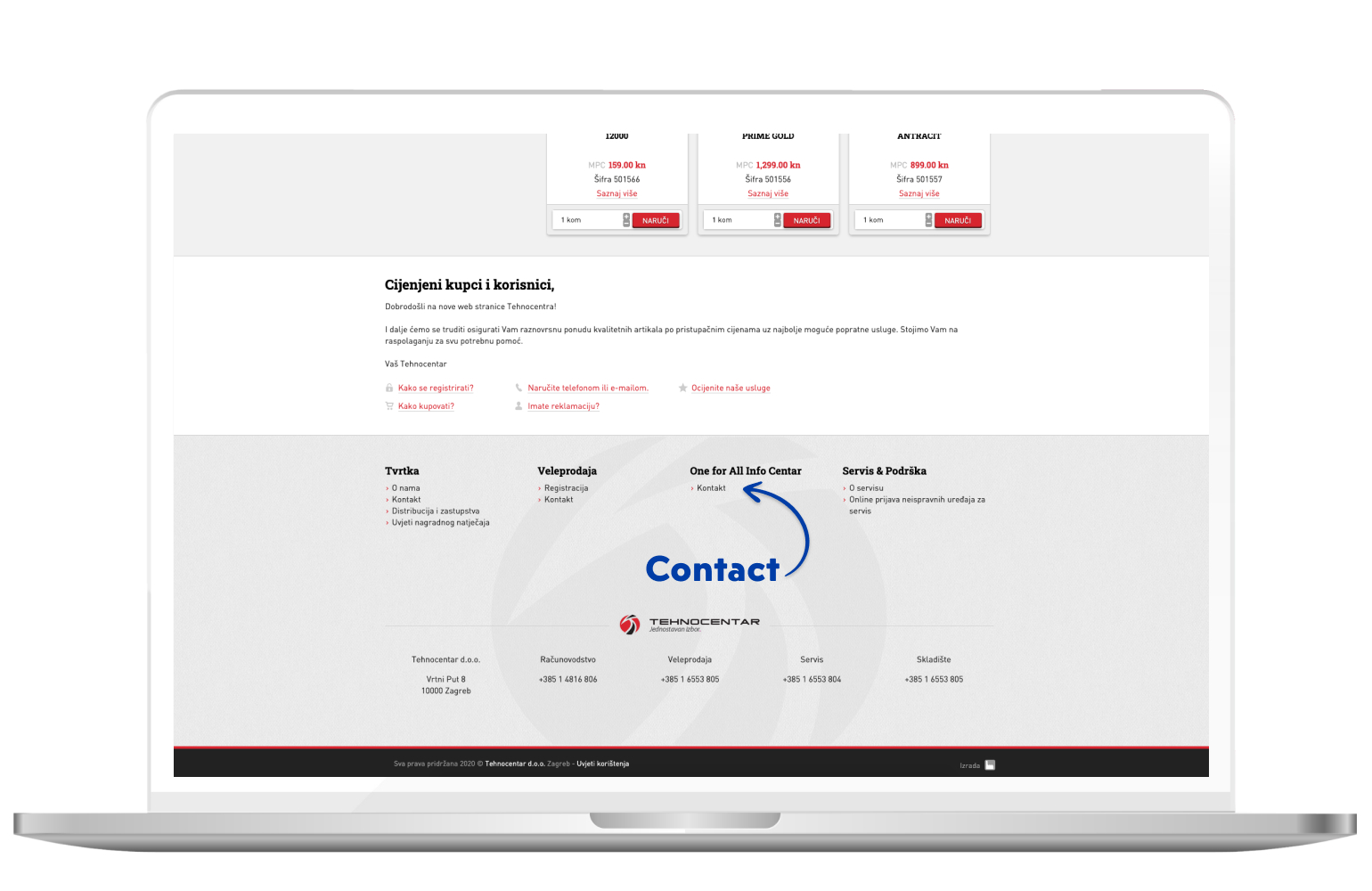 Contact page in eCommerce