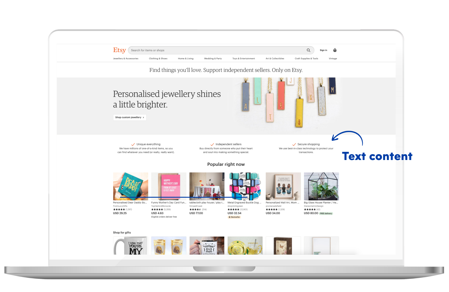 Text content in eCommerce