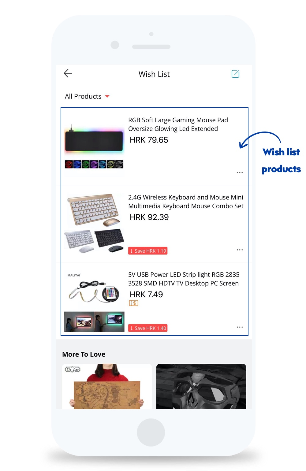wishlist products in ecommerce mobile apps