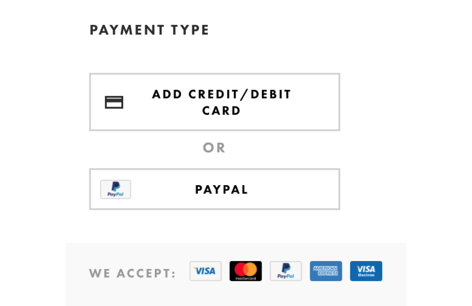 Payment type in eCommerce