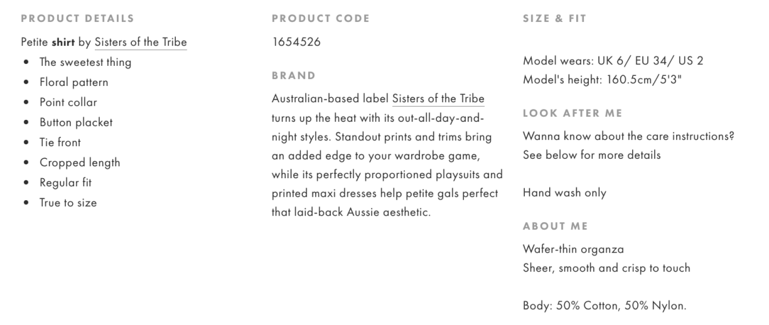 Product information in eCommerce