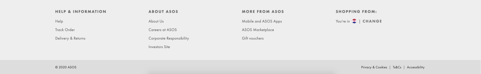 The footer of the page in eCommerce