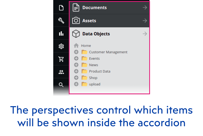 The perspectives controls which items will be shown inside the accordion- Pimcore admin