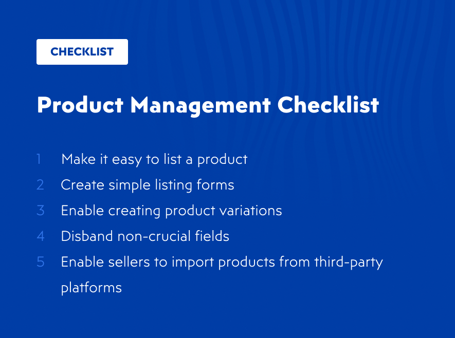 Product management checklist for online marketplace