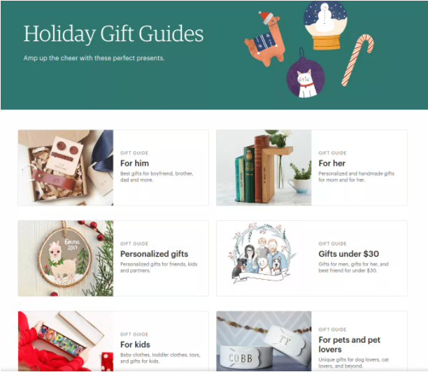 Example of holiday gift guide for Christmas eCommerce