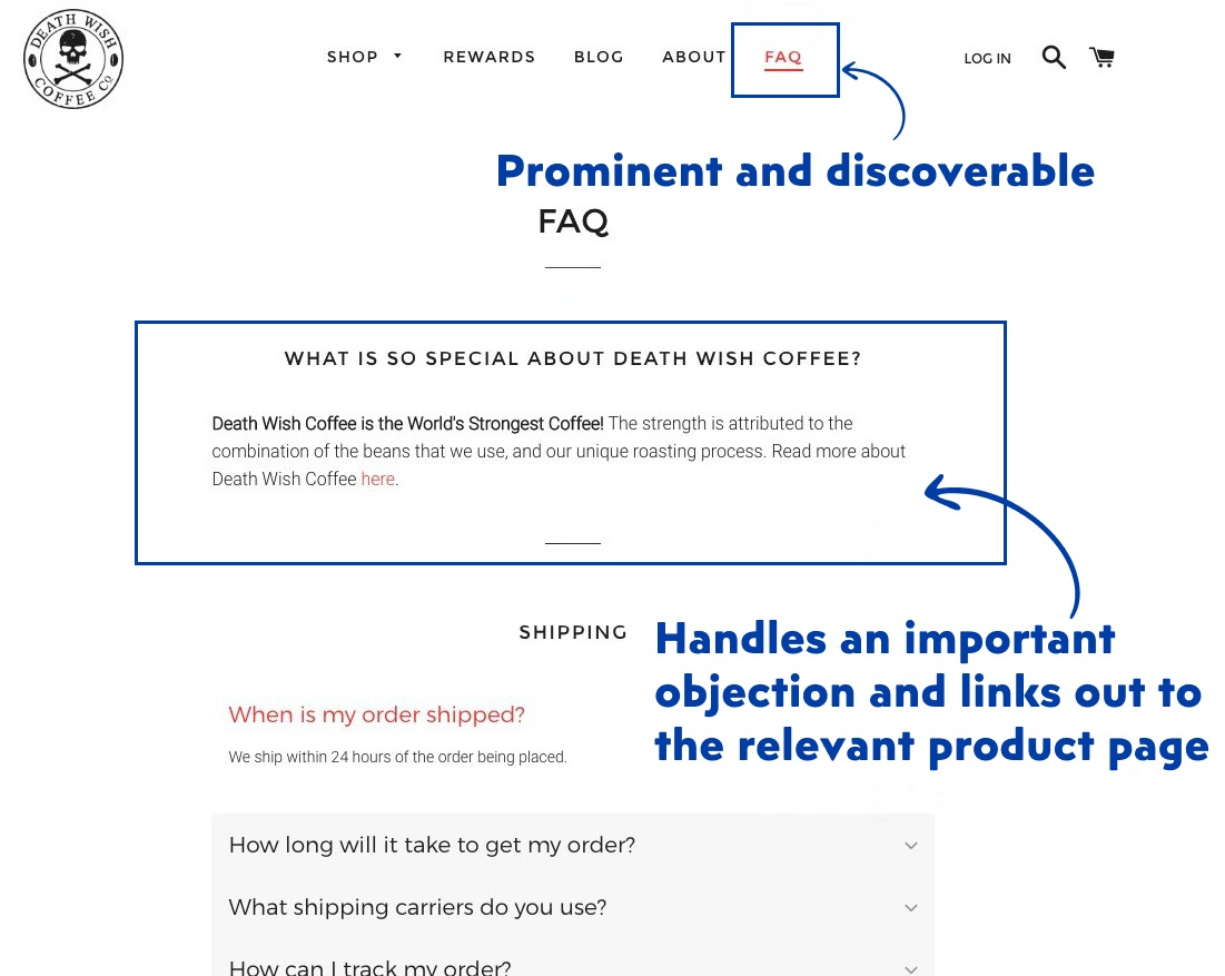FAQ as a useful eCommerce feature