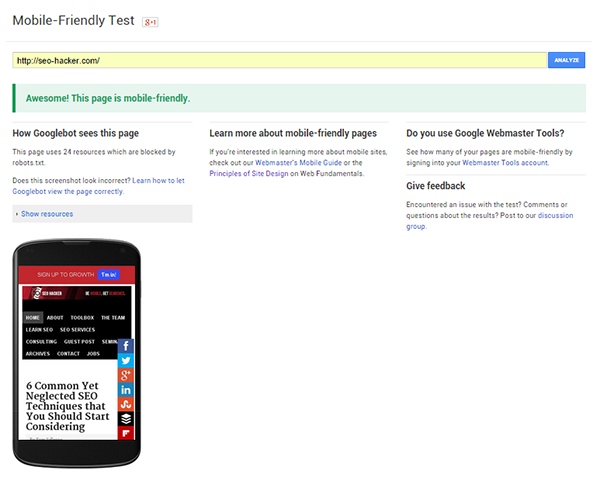 Mobile friendly Google Pagespeed insight