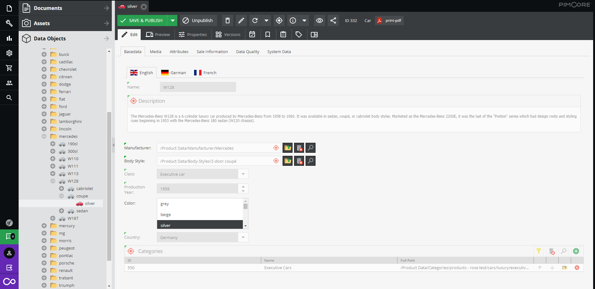 Using translation in Pimcore CMS - editing data objects