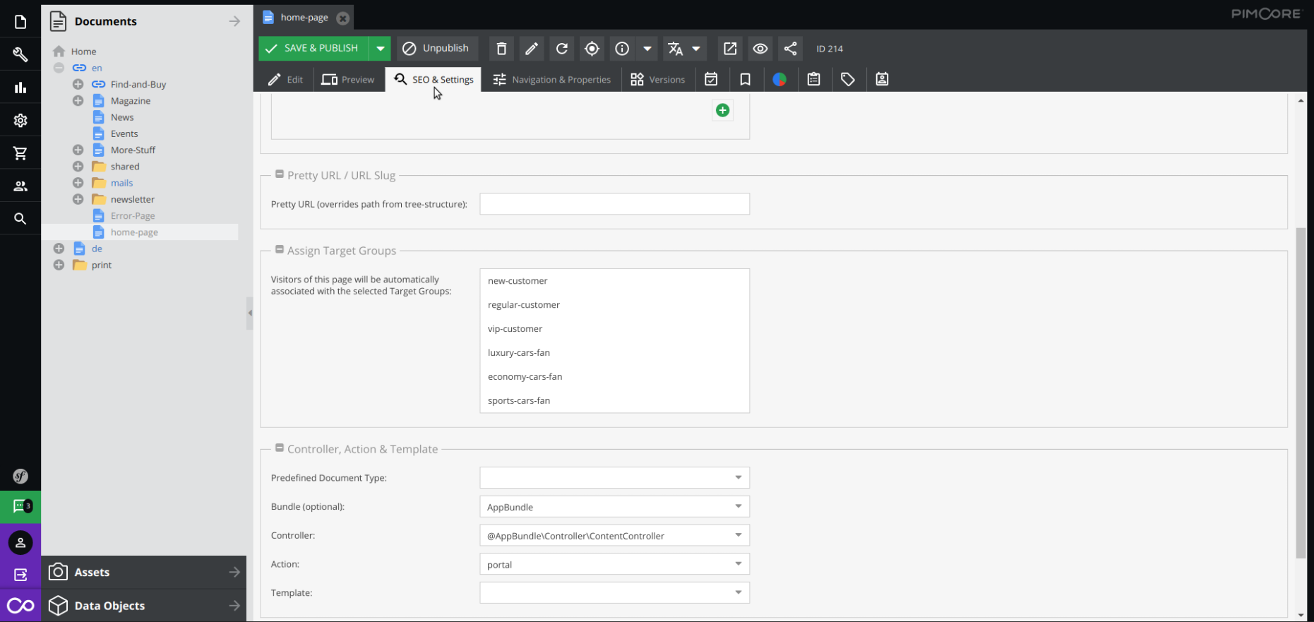Editing SEO & settings for new landing page in Pimcore