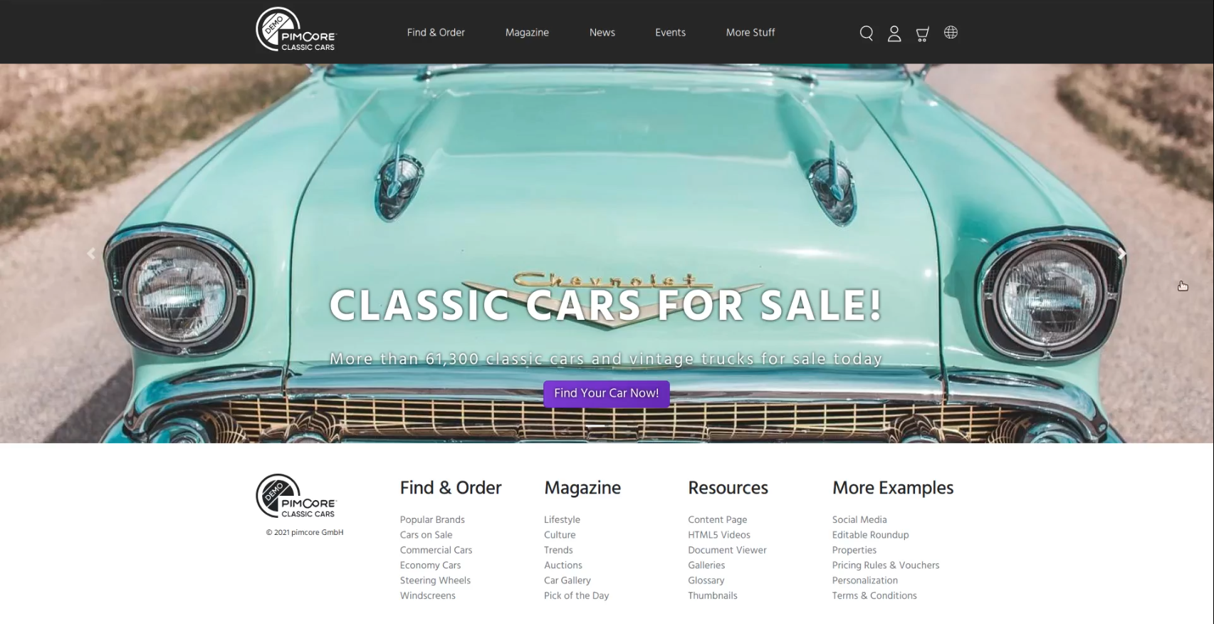 Previewing the newly-created landing page in Pimcore
