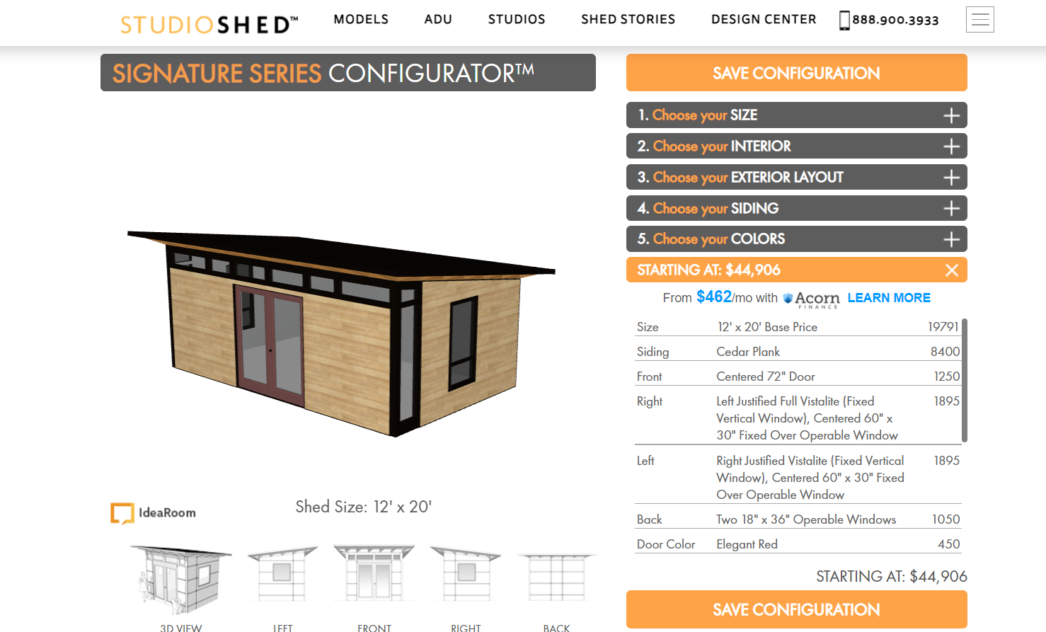StudioShed 3d product configurator example