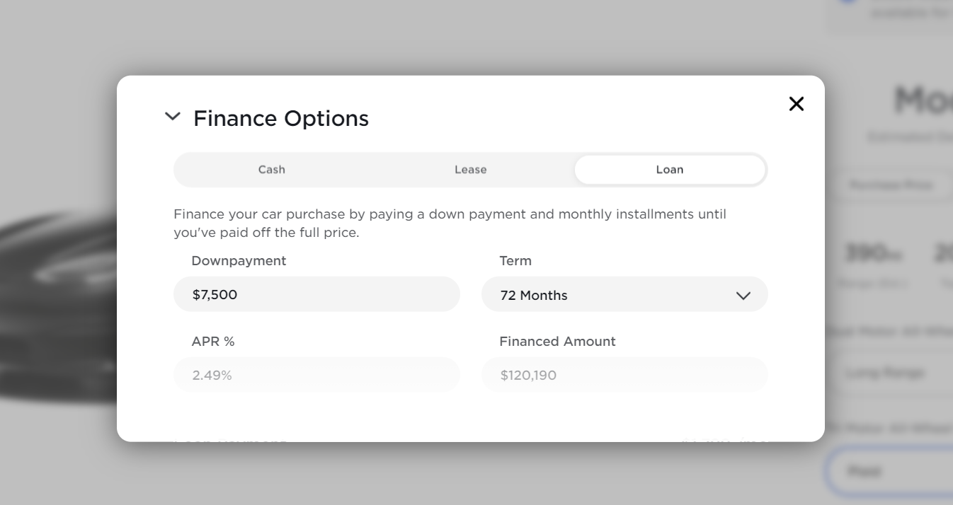 Tesla offering finance options in product configurator