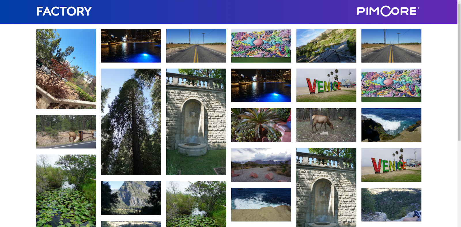 An example of an image gallery created before using Pimcore thumbnails