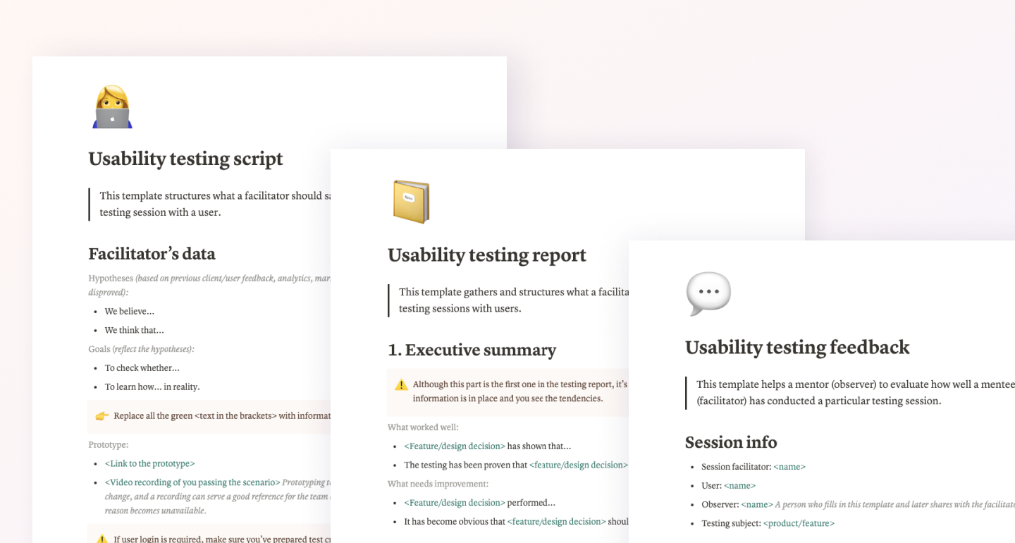 Templates for usability testing